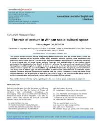 the role of orature in african socio cultural space