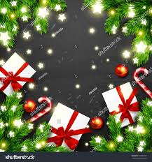 christmas greeting card gift box glowing stock vector 539263537