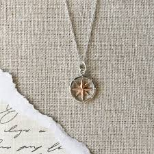 rose silver necklace images Small two tone silver rose gold compass rose necklace versant jpg