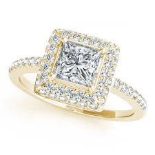 princess cut engagement rings with halo 1 2ctw princess cut halo engagement ring in 18k yellow gold