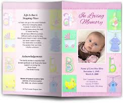 funeral program children youth baby letter single fold template multi colors