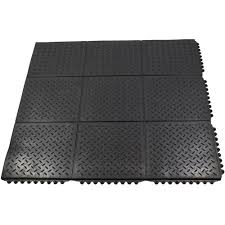 Commercial Rubber Flooring Durable Anti Fatigue Interlocking Commercial Solid 37 In X 37 In