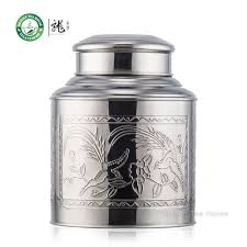large stainless steel canister tea caddy container with double lid