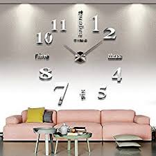 living room wall clock amazon com cozroom large silver 3d frameless wall clock stickers