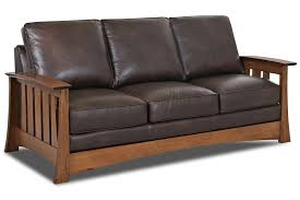 mission style leather sofa stockton leather mission style pillow back sofa