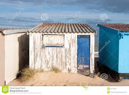 small beach house on sand beach in calais france royalty free