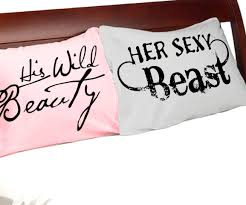 amazon com his wild beauty her beast pillowcases king white