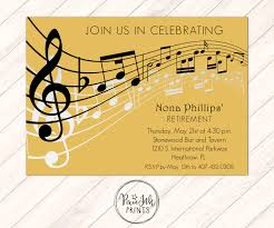 gold music notes invitation musical party sheet music
