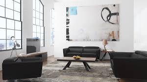 Modern Leather Couch Set Casa Madden Modern Black Leather Sofa Set