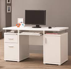 White Wood Computer Desk Brown Wooden Top For L Shaped White Wooden Desk Built In Shelf And