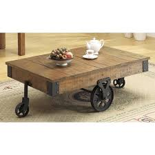 Great Rustic Coffee Tables With Wheels Rustic Wheeled Wooden Coffee