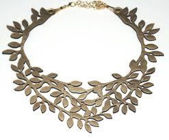 leather necklace design images Gold leaf leather necklace vit ria global fashion llc jpg