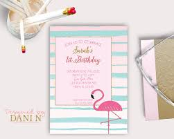 flamingo birthday invitation pool summer party first birthday