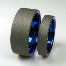 titanium wedding band titanium wedding band set cobalt blue and matte gray hersteller