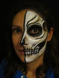 Halloween Skeleton Faces by Half Skull Face Paint Tutorial Coochiecrunch