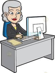 Grauer Schreibtisch A Mature Businesswoman Using The Computer Cartoon Clipart Grauer