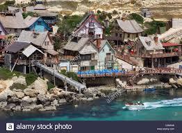 popeye village popeye village island of malta mediteranean stock photo royalty