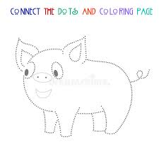 connect dots game pig vector illustration stock vector image