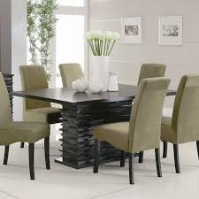 Contemporary Upholstered Dining Room Chairs Beige Fabric Upholstered Dining Chair Come With Black Stained Wood