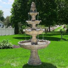 Home Decor Water Fountains by 4 Tier Outdoor Waterfall Fountain Electric Pump Yard Garden Decor