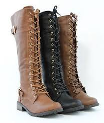 s boots knee high brown knee high lace up fashion combat boots style