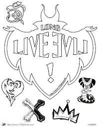 descendants coloring page long live evil disney channel movie