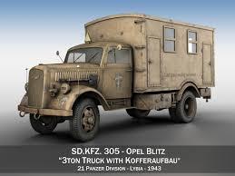 opel blitz with flak 38 opel blitz 3t cargo truck with kofferaufbau 21 pzdiv 3d