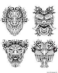 mask inspiration inca mayan aztec coloring pages printable