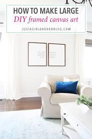 living room framed wall art living room how to make large diy framed canvas art just a girl and her blog