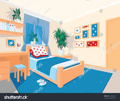 colorful interior bedroom flat cartoon style stock vector