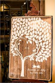 fall wedding guest book rustically heart tree wedding guestbook deer pearl flowers