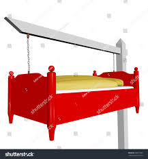 suspended bed gallows suspended bed advertising sign stock illustration