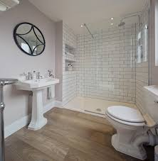 Bathroom Wood Floors - light purple bathroom walls white subway tile shower wood floors