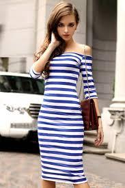 blue white stripe print off shoulder midi dress casual dresses