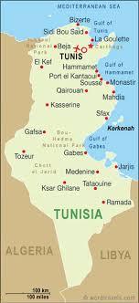 tunisia physical map kairouan map