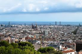 barcelona city view spain barcelona city view overview of the city stock photo