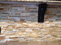 Stone Kitchen Backsplash Stacked Stone On Island Gorgeous Colors And Would Be Beautiful