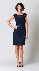 navy blue cap sleeve knee length zipper back and button short lace