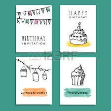 set of hand drawn birthday party cards invitations with doodle