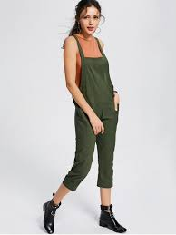 s jumpsuits square collar jumpsuit with pockets army green jumpsuits