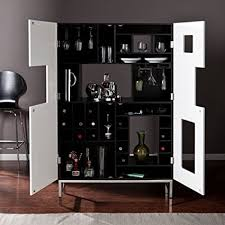 Black Bar Cabinet Southern Enterprises Shadowbox Wine Bar Cabinet Black