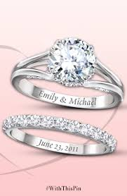wedding engravings platinum plated sterling silver engagement ring and wedding band