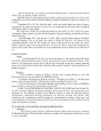 narrative report in reading samples