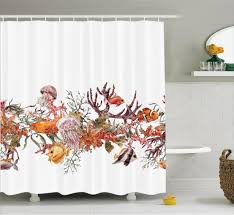 Ocean Bathroom Decor ocean life shower curtain fish coral algea bathroom decor ebay