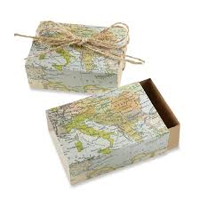 Map Favors by Kate Aspen Around The World Map Favor Box Set Of 24