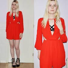 Rebel Flag Lingerie Lucy Mitchell Miss Selfridge Red Playsuit Dress Velvet Rebel