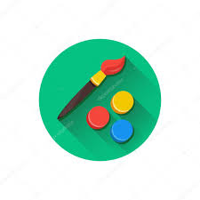 vector paint brush and color palette icon u2014 stock vector