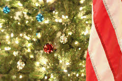 ornaments and american flag royalty free stock photo