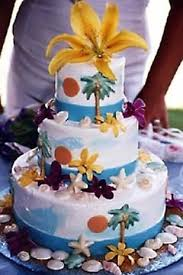three tier hawaii maui theme wedding cake garnished with tropical