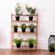 Herb Shelf 3 Tiers Outdoor Stand Bamboo Flower Pot Shelf Plant Stands